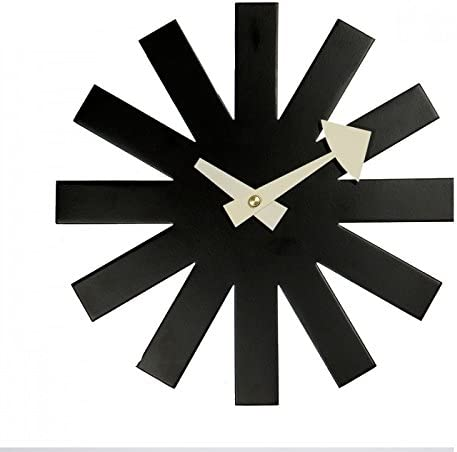 Emorden Furniture George Nelson Asterisk Clock, Atomic Wooden Wall Clock Mid Century Antique Retro Nelson Style Black