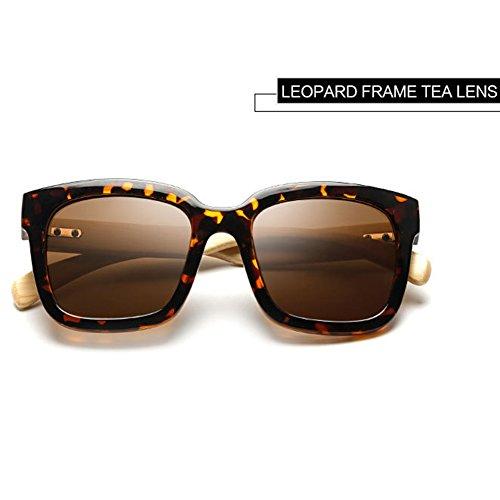 Hombre de Highdas Mujer Marr¨®n Brazo Leopardo de Madera Sol Shades Oversized Gafas Bamb¨² EwHq0xwS
