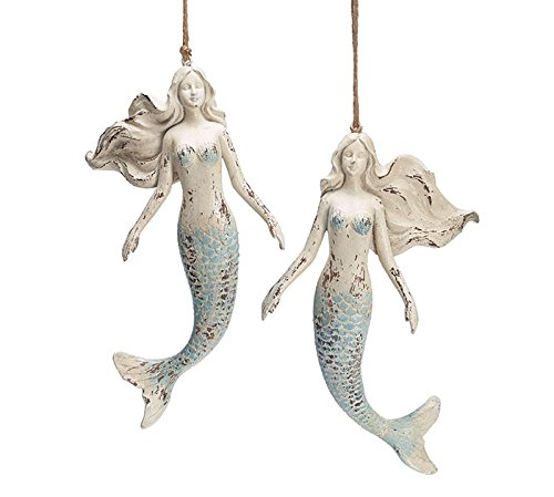 Burton and Burton Christmas Decor Distressed Resin Large Mermaid Ornaments Set of 2