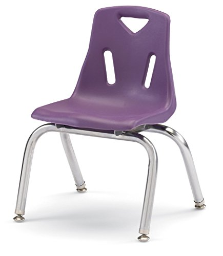 Berries 8148JC6004 Stacking Chairs with Chrome-Plated Legs, 18'' Ht, 19.5'' Height, 31.5'' Wide, 23.5'' Length, Purple (Pack of 6) by Berries