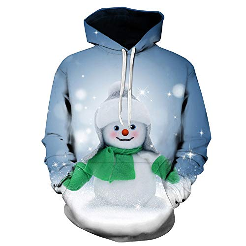 DEATU Sale Mens Vivid Christmas Pullover 3D Printed Hooded Sweatshirt Tops Blouse with Front Big Pocket Lover Clothing(Blue,US Size M = Tag L)
