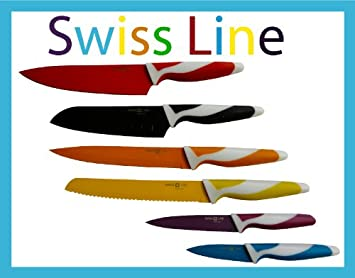 Compra Swiss Line - Juego de 6 cuchillos de cocina (en caja ...