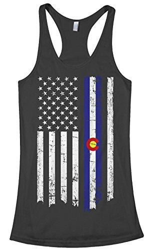 Threadrock Women's State of Colorado American Flag #2 Racerback Tank Top XL Black