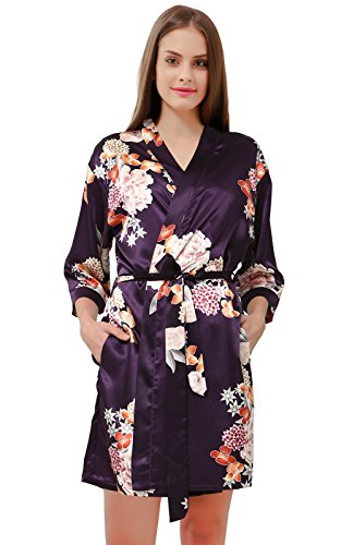 GoldOath Women's Floral Kimono Robes for Bride and Bridesmaid Dressing Gown Wedding Party Gift Short Purple
