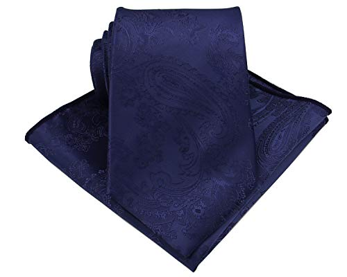 Mens Silk Paisley Tie Set:Necktie and Pocket Square-(Available in Standard 58-inch and 63-inch Extra Long) (Standard 58