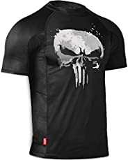 Hayabusa Mens Marvel Hero Elitte Short Sleeve Jiu Jitsu Rash Guard - The Punisher, X-Large