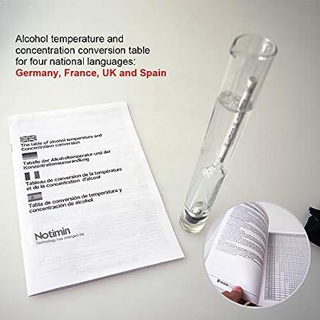 Notimin Medidor de alcohol 2pcs Hidrómetro de Alcohol Set de Densímetros 0-100Vol% + cilindro de vidrio especial, para licores/licores destilados etc (Manual en español,Sin termómetro)