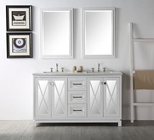 Daisy Bathroom Vanity Set with Italian Marble Top and Mirror (60, White) (Vanity Set Daisy)