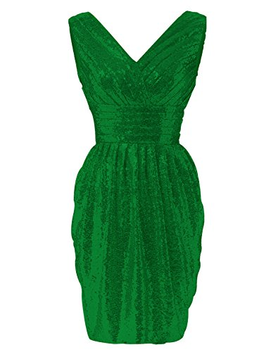 2018 Short Prom Dress Pleated Maxi Gown For Women Formal Empire Waist Evening Sash Ball Gown HSQ18ST Green Size 2 ()