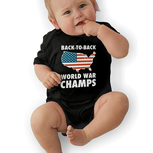 (Infant Short Sleeve Jersey Bodysuit Back to Back World War Champs Baby Clothes Black)