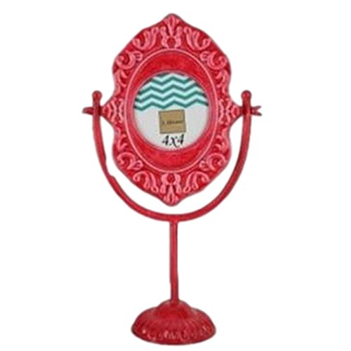 J. Hunt Pink Metal Picture Photo Frame Lacquered Metal Vintage Make-up Pedestal Mirror Round 4 by 4 14