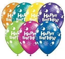 Pack of 12 Happy Birthday Latex Balloons Assorted Colors ATL