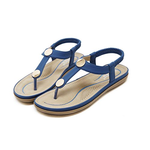 Longra Women's Sandals,Spring Ladies Leather Look Fashion Slippe Peep-Toe Elegant Solid Outdoor Shoes Blue