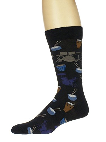 Men's Cotton Blend Drum Theme Novelty Fun Casual Crew Socks (Mens Drum)