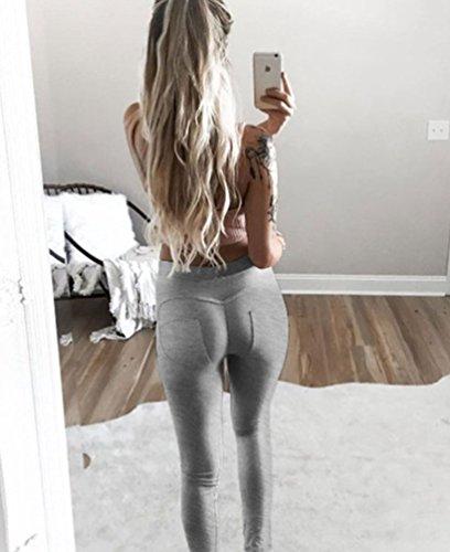 NiSeng Mujer Pantalones Deportivos Elásticos Leggings Skinny Fit Running Yoga Pantalones Legging Gray