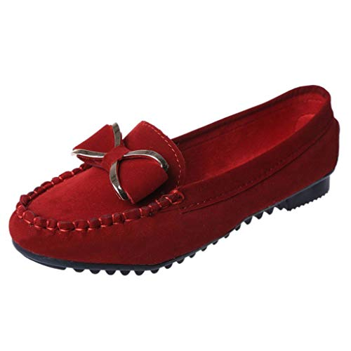 Women's Casual Flat Shoes Flexible Dress Shoes Comfy Espadrilles Classic Low Top Shoes Red (Ladies Shoe Stretcher For High Heels Uk)