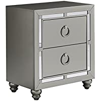 Global Furniture Riley (1621) Night Stand Nightstand, Silver