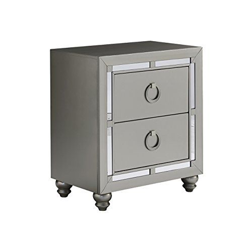 Global Furniture 1621 Night Stand Riley Nightstand, Silver