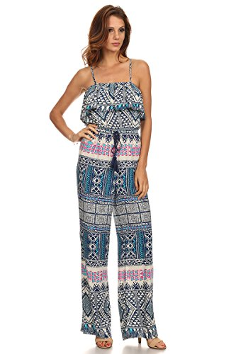 MeshMe Womens Sydney - Tribal Ethnic Moroccan Printed Pattern Ruffle Bust Spaghetti Strap Cami Camisole Long Pants Romper Jumpsuit - Affordable Suits Sydney