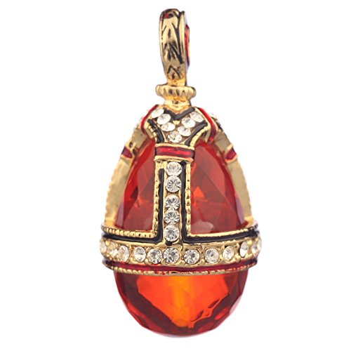 Style Pendent Necklace - danila-souvenirs Russian Faberge Style Egg Pendant/Charm with Crystals 1 1/4'' Amber Color #0582-2