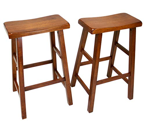 - eHemco Set of 2 Heavy Duty Saddle Seat Bar Stools Counter Stools - 29