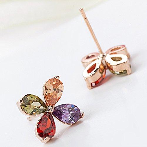 Jiayiqi Filles Mode Belles Feuilles Cristal Coloré Brillant Goujon Boucles D'oreilles Cadeaux