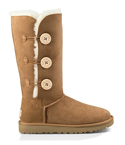 (UGG Women's Bailey Button Triplet II Winter Boot, Chestnut, 8 B US)