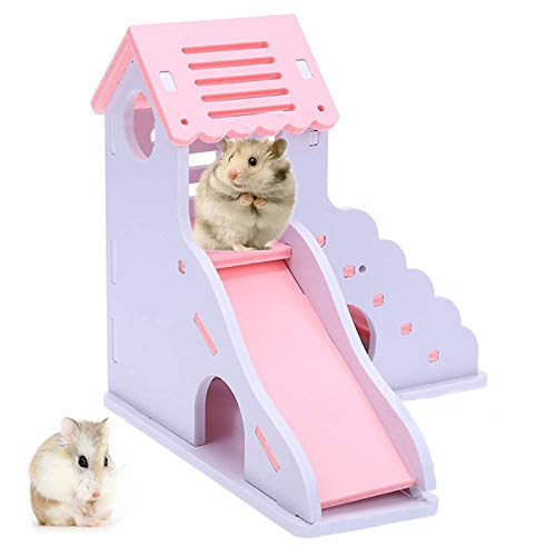 DAYOLY Casa de hámster de Madera, Color Rosa, Dos Capas, Juguete para caseta de Juguetes, masticables para Animales pequeños, Juguete para Dormir, ...