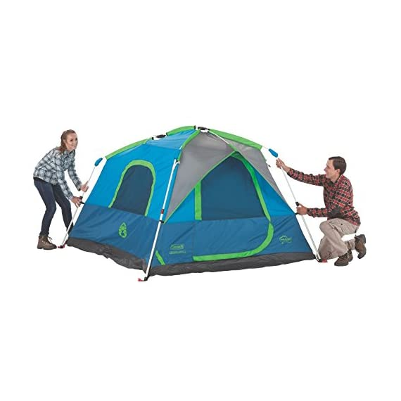 Coleman Camping Instant Signal Mountain Tent 6 Weather Tec system - patented welded floors and Inverted seams help keep water out Instant setup in about 60 seconds. Pre-attached poles for quicker, simpler setup - just extend and secure Integrated rainfly doesn't require separate assembly