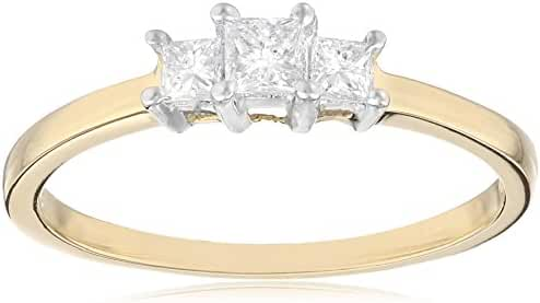 14k Gold Princess-Cut 3-Stone Diamond Ring (1/4 cttw, I-J Color, I1-I2 Clarity)
