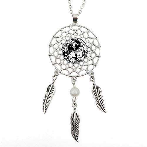 (Silver Dream Catcher Necklace Ying and Yang Dragon Glass Pendant Long Chain Dangling Feather Charms Jewelry for Women)