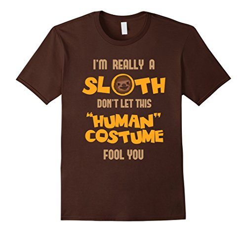 [Men's FUNNY REALLY A SLOTH T-SHIRT Halloween Costume XL Brown] (Father Daughter Halloween Costumes)