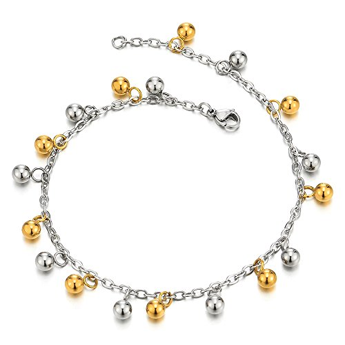 Stainless Steel Anklet Bracelet with Dangling Charms of Balls Gold and Silver by COOLSTEELANDBEYOND