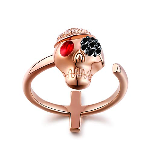 FOREVER QUEEN Skull Ring Cross Ring Band Open Ring Gothic Jewelry for Women 18K Rose Gold Plated Sterling Silver Unique Black Flower and Ruby 5A CZ Adjustable Open Ring Jewelry FQ0037