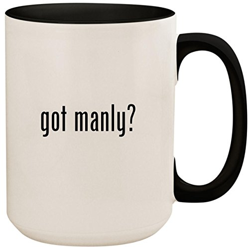 (got manly? - 15oz Ceramic Colored Inside and Handle Coffee Mug Cup, Black)
