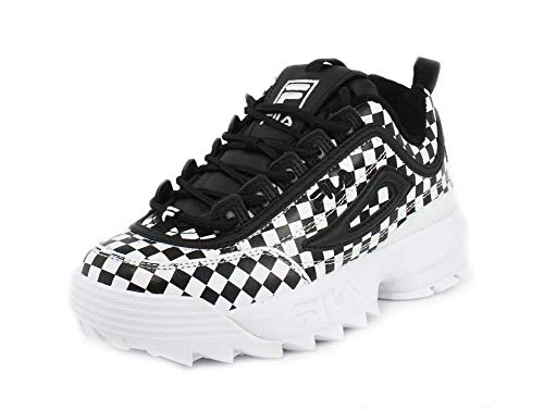 - Fila Women's Disruptor Ii Sneaker, Black Checkered, Size 9.5