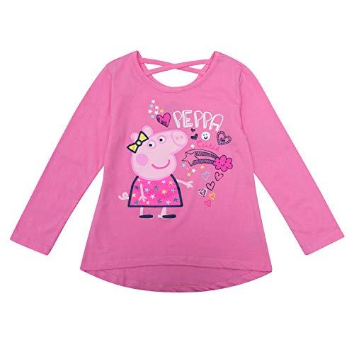 (Peppa Pig Long Sleeve Shirt - Long Sleeve T-Shirt Featuring Peppa, Mummy George (Pink,)