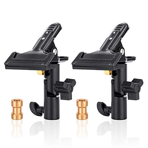 (UTEBIT 2 Pack Collapsible Reflector Holder 180 Rotation Heavy Duty Clamp Holder Heavy Duty Flash Umbrella Bracket with 1/4 to 3/8 Screw Adapter for Backdrop Photography, Light Stand, Tripod)