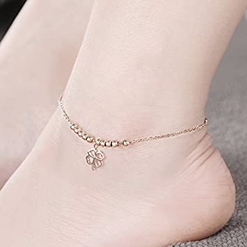 Fine Jewelry Rose Gold Four Leaf Clover Anklet 18k Gold Plated