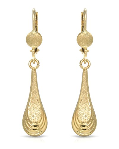MCS Jewelry 10 Karat Yellow Gold Leverback Drop Dangling Strands Earrings (40 mm) ()