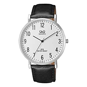 Q&Q Classic Men's White Dial Leather Band Watch - QZ02-304
