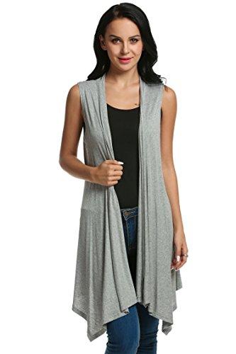 Beyove Women's Asymetric Hem Sleeveless Open Front Drape Cardigan Sweater Vest Light Gray (Button Up Sweater Vest)