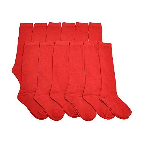 (Angelina Dozen-Pack Cotton Knee High Socks, 3102_RedL)