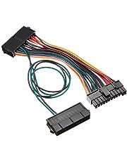 SilverStone SST-PP10 - Cable adaptador de fuente de alimentación, conector hembra doble de 24 clavijas + conectores macho de 24 clavijas, fuente de alimentación dual