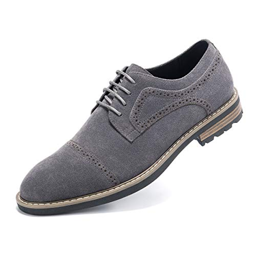 Men's Suede Leather Oxford Shoes Casual Lace up Dress Shoes Grey ()