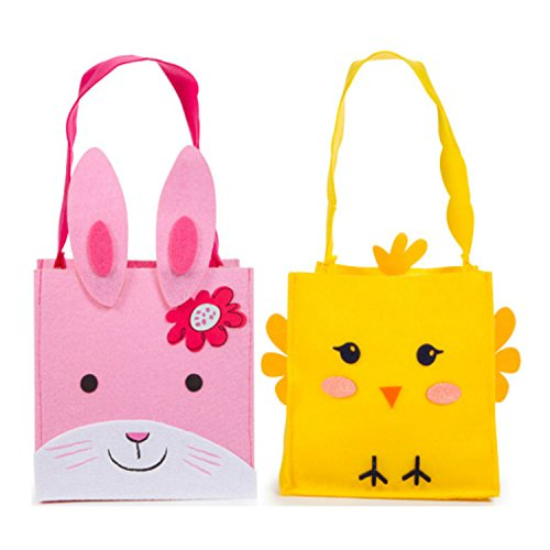 Felt Fabric Easter Basket Bags for Girls and Boys in Cute Bunnies and Chicks Design | Useful for Candy, Goodies, and Egg Hunts | 2 per Order