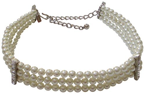Kenneth Jay Lane Faux Pearl and Crystal 3 Row Choker Necklace -