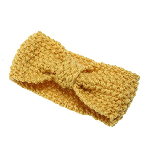Chinatera Newborn Baby Girl Wool Crochet Knitted Headband Bowknot Turbans Stretchy Hair Wrap