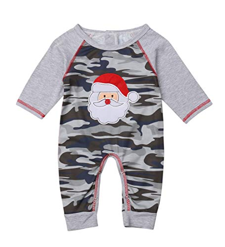 Wassery Christmas Unisex Baby Girl Boy Santa Claus Camo Romper Bodysuit Playsuit Newborn Girl Jumpsuit (Camo, 3-6 Months)