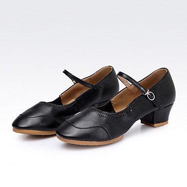 XIAMUO Nicht anpassbar - Die Frauen tanzen Schuhe Leder Leder Latin/Moderne Turnschuhe Ferse Praxis, Rot, Us8.5/EU39/UK6.5/CN 40